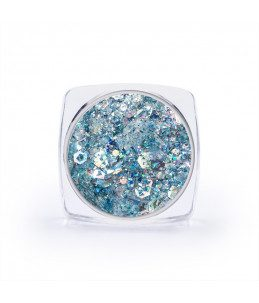 unghie azzurre decorazione paillettes per nail art